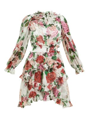 Dolce & Gabbana rose-print silk-chiffon ruffled mini dress