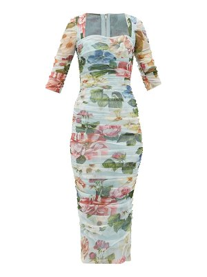 Dolce & Gabbana ruched floral-print tulle dress