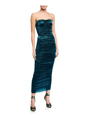 Dolce & Gabbana Ruched Lame Strapless Dress