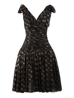 Dolce & Gabbana Ruched Polka Dot Fil Coupé Dress