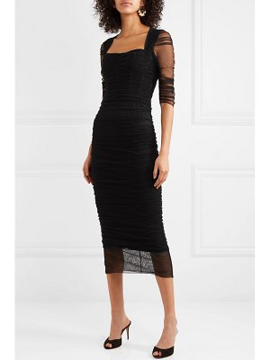 Dolce & Gabbana ruched stretch-tulle midi dress