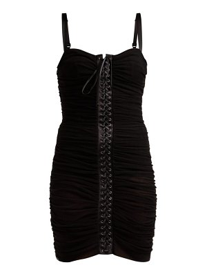 Dolce & Gabbana Ruched Tulle Lace Up Corset Dress