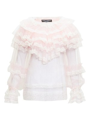 Dolce & Gabbana ruffled chantilly-lace and tulle blouse
