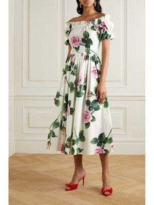 Dolce & Gabbana ruffled floral-print cotton-poplin midi dress