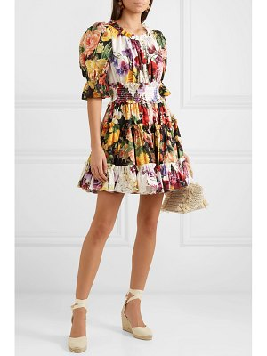 Dolce & Gabbana ruffled floral-print cotton-poplin mini dress