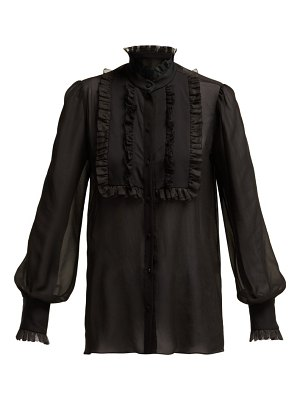 Dolce & Gabbana ruffled high neck silk blend chiffon blouse
