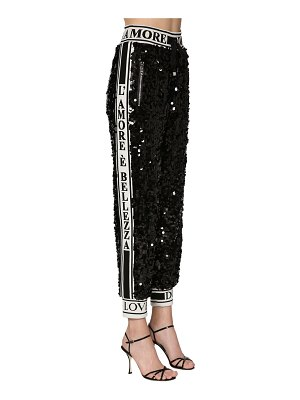 Dolce & Gabbana Sequined pants w/ logo bands