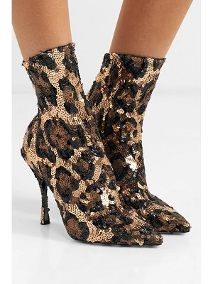 Dolce & Gabbana sequined stretch-knit sock boots