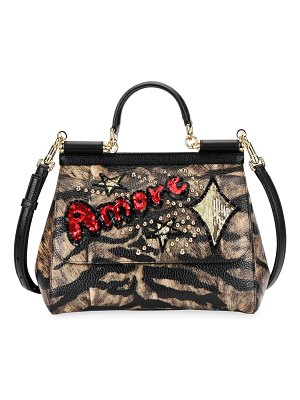 Dolce & Gabbana Sicily Medium Tigre Amore Top-Handle Bag