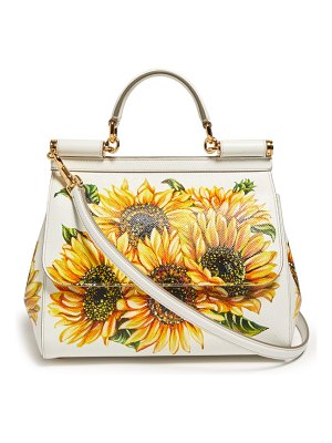 Dolce & Gabbana sicily mini sunflower print dauphine leather bag