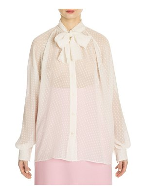 Dolce & Gabbana silk dotted tieneck blouse