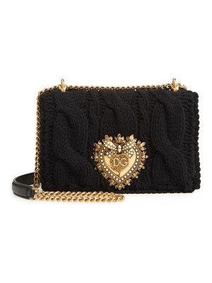 Dolce & Gabbana small devotion cable knit wool blend shoulder bag