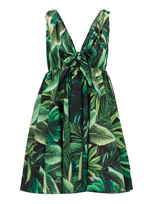 Dolce & Gabbana tie-strap jungle-print cotton mini dress