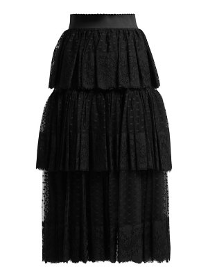 Dolce & Gabbana tiered tulle and lace midi skirt