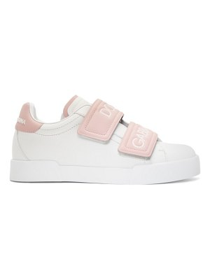 Dolce & Gabbana white and pink strap sneakers