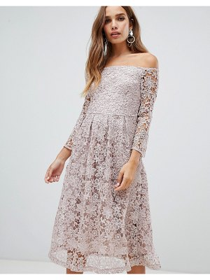 Dolly & Delicious bardot all over lace prom midi dress with bell sleeve in mauve-pink