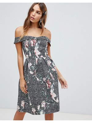 Dolly & Delicious bardot full prom midi dress with pockets in floral print-multi