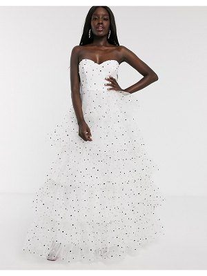 Dolly & Delicious bardot tiered full prom maxi dress in polka dot-white