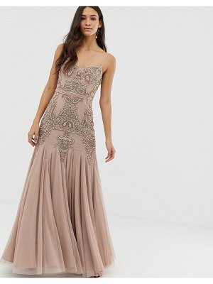 Dolly & Delicious cami embellished maxi dress with fishtail in mauve-purple