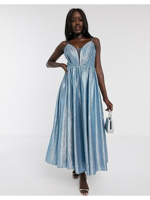 Dolly & Delicious plunge front pleated front midaxi dress in blue glitter