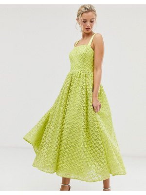 Dolly & Delicious square neck textured midaxi prom dress in neon lime-yellow