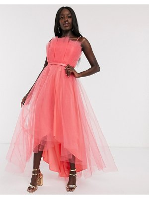 Dolly & Delicious tulle bardot layered high low prom midi dress in coral-orange