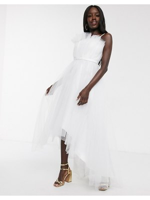 Dolly & Delicious tulle bardot layered high low prom midi dress in white