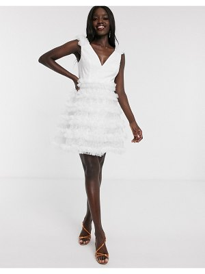 Dolly & Delicious tulle feather look mini prom dress in white