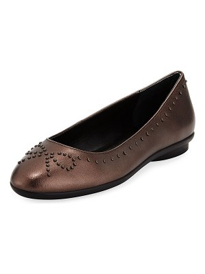 Donald J Pliner Markie Bow-Studded Metallic Leather Ballet Flats