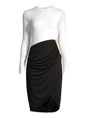 Donna Karan contrast draped front dress