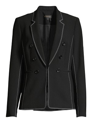 Donna Karan embroidered trim button blazer