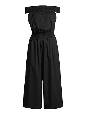 Donna Karan smocked off-the-shoulder jumpsuit