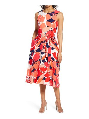 Donna Ricco floral belted fit & flare midi dress