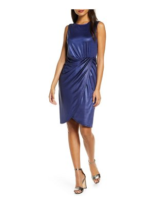 Donna Ricco ruched sleeveless metallic knit faux wrap dress