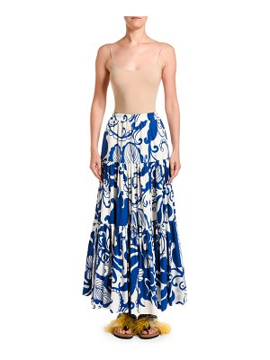 Double J Printed Tiered Poplin Maxi Skirt