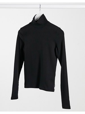 Dr Denim awa long sleeve high neck t-shirt in black