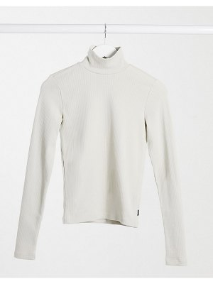 Dr Denim awa long sleeve high neck t-shirt in cream-beige