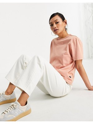 Dr Denim boxy t-shirt in washed terracotta-white