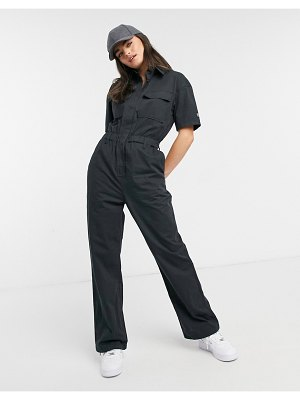 Dr Denim cargo jumpsuit in graphite-black