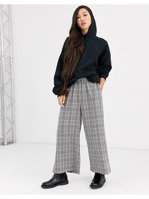 Dr Denim check wide leg pants-black