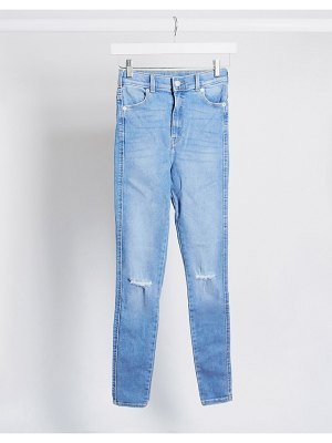 Dr Denim moxy sky high super skinny jeans with ripped knees-blue