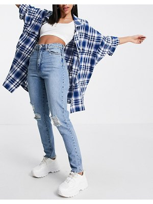 Dr Denim nora high rise mom jeans with ripped knees in blue-blues