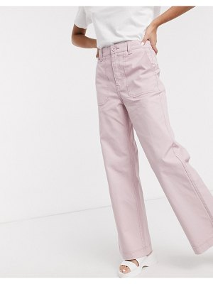 Dr Denim tuva high rise worker jean with front pocket detail in light pink