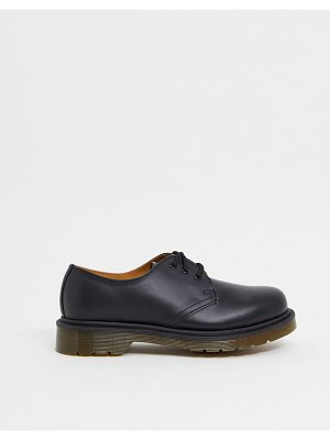 Dr Martens 1461 flat shoes in black with plain welt sole