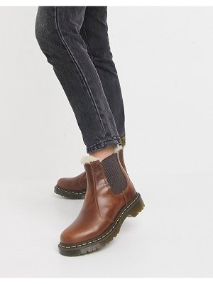 Dr Martens 2976 leonore fur lined chelsea boots in brown
