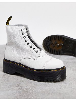 Dr Martens sinclair flatform zip leather boots in white
