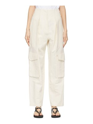 DRAE off-white linen canvas trousers
