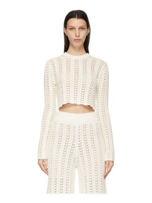 DRAE off-white net knit cropped sweater