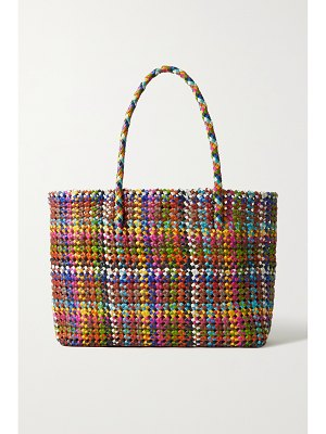 DRAGON DIFFUSION flower woven leather tote