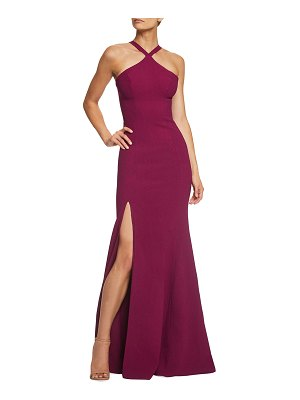 Dress the Population Brianna Halter Mermaid Gown with Thigh Slit